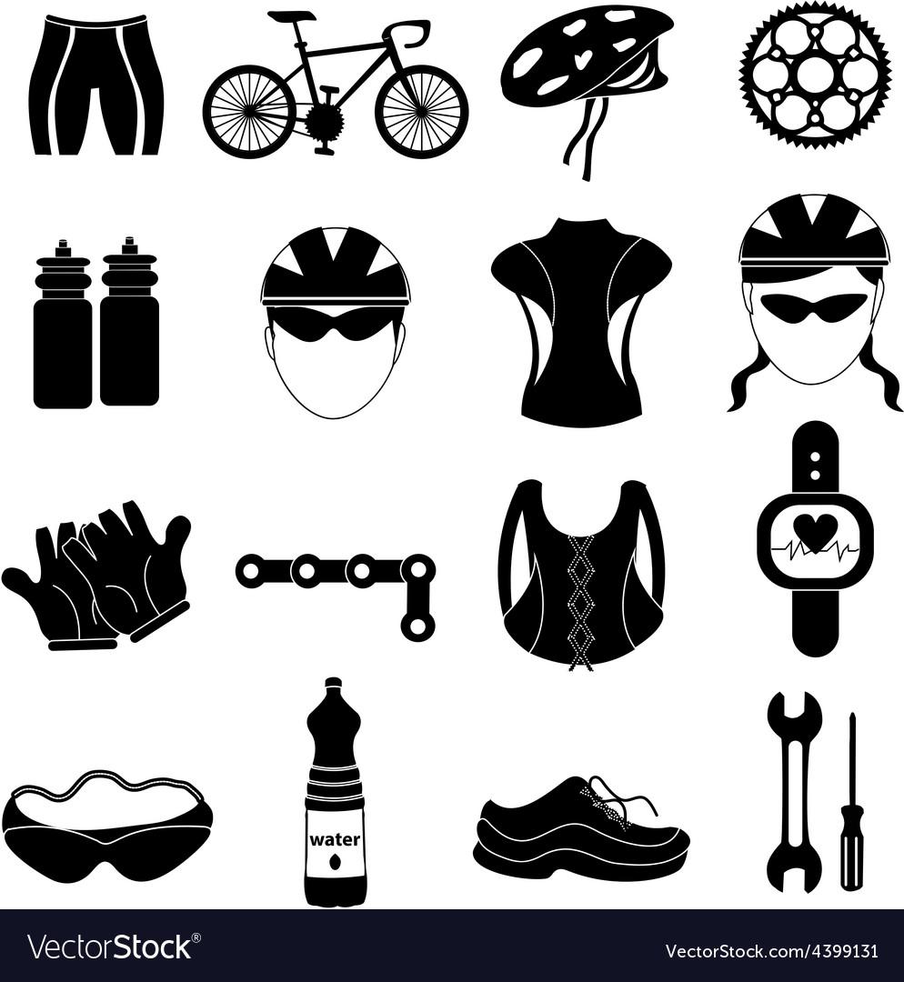 Bicycle rider icons set