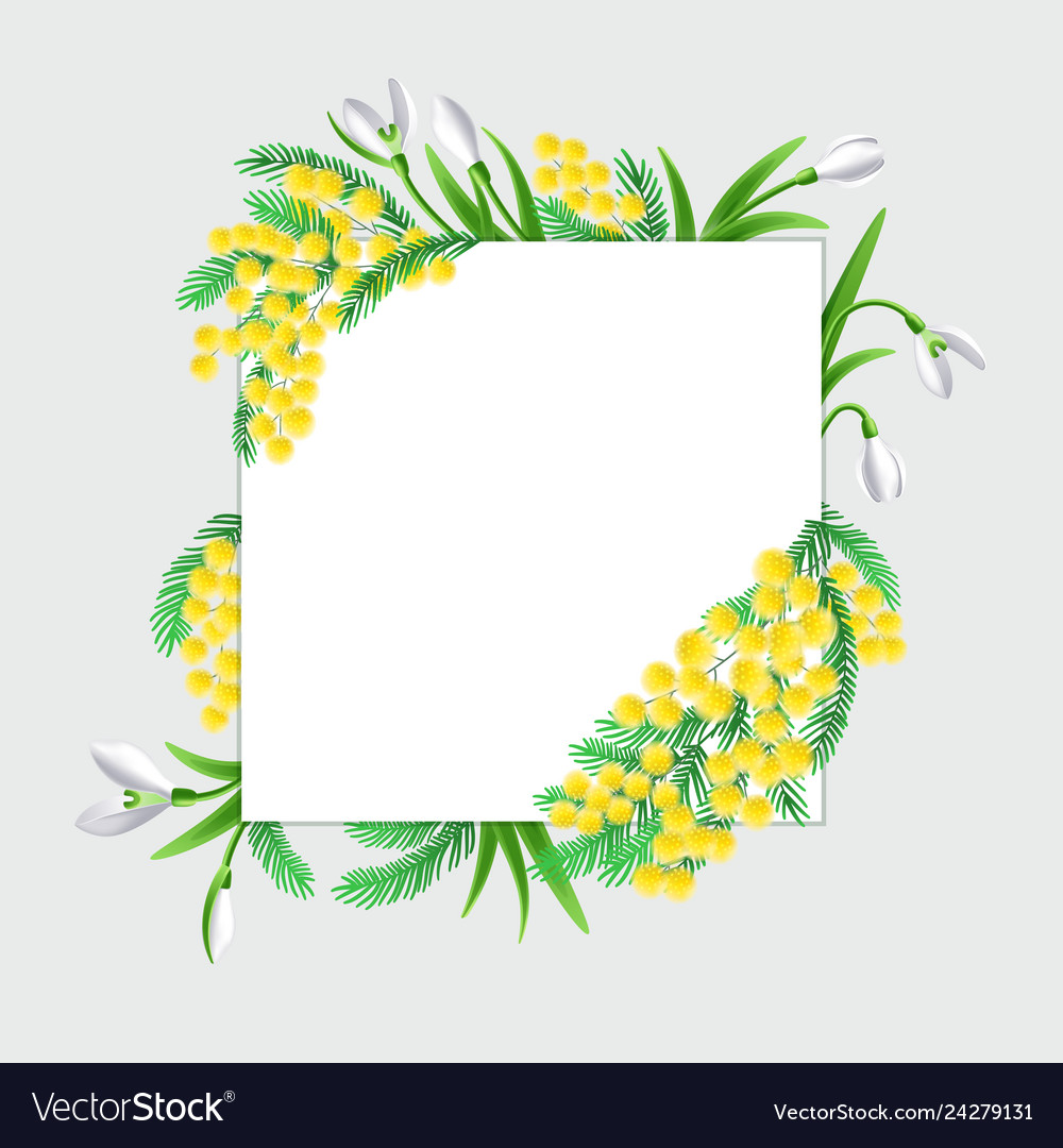 Design square banner with spring flowers