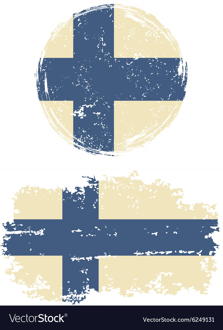 Finnish round and square grunge flags