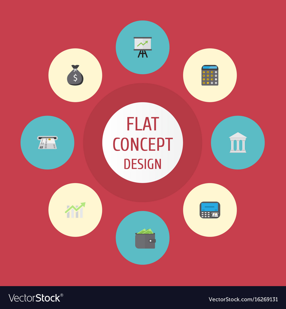 Flat icons growing chart billfold atm and other vector image