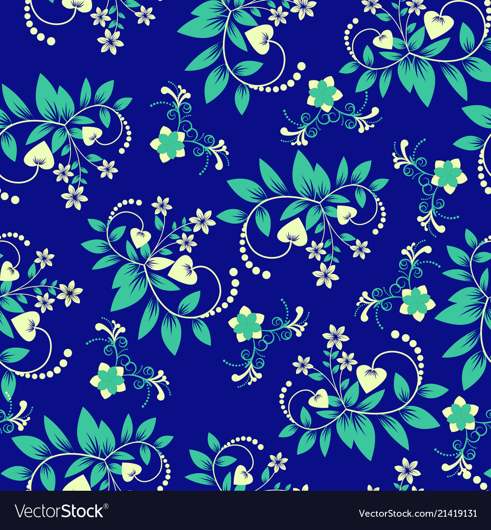 Floral seamless pattern with swirl shapes