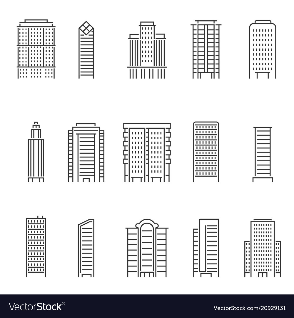 Mono line modern buildings vector