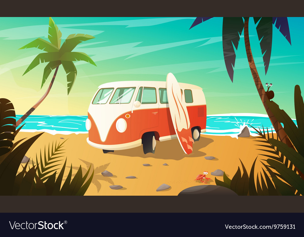 Old bus on the beach with surfboard