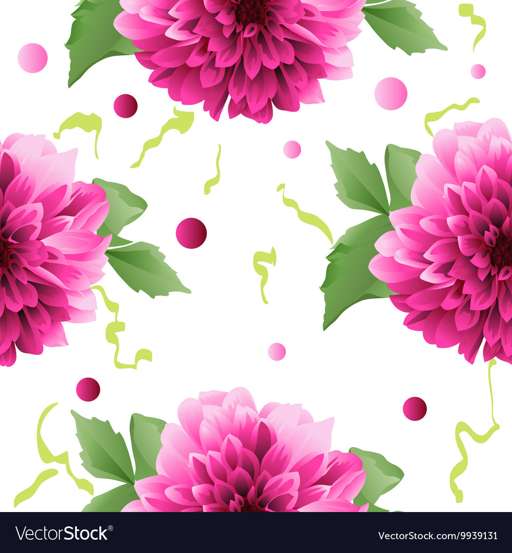 Red Dahlia Flower Seamless Background Royalty Free Vector