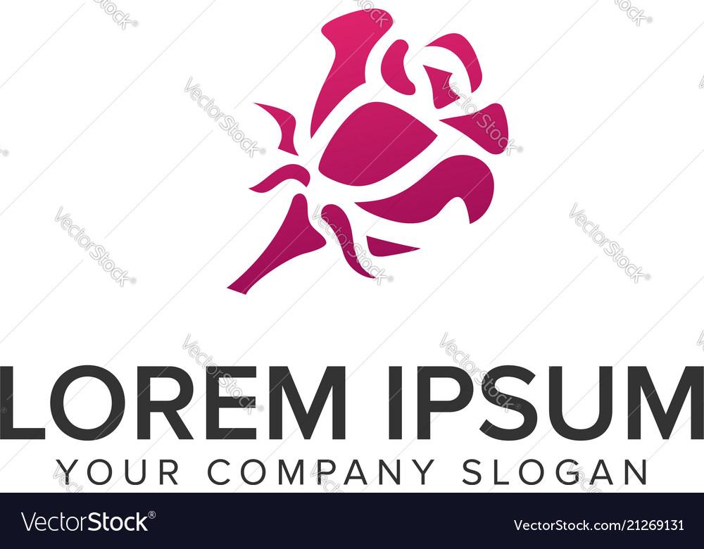 Rose flower logo design concept template
