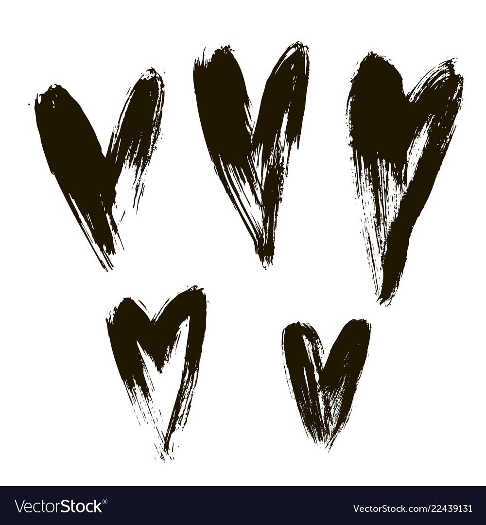 Set of hearts ink brush on white