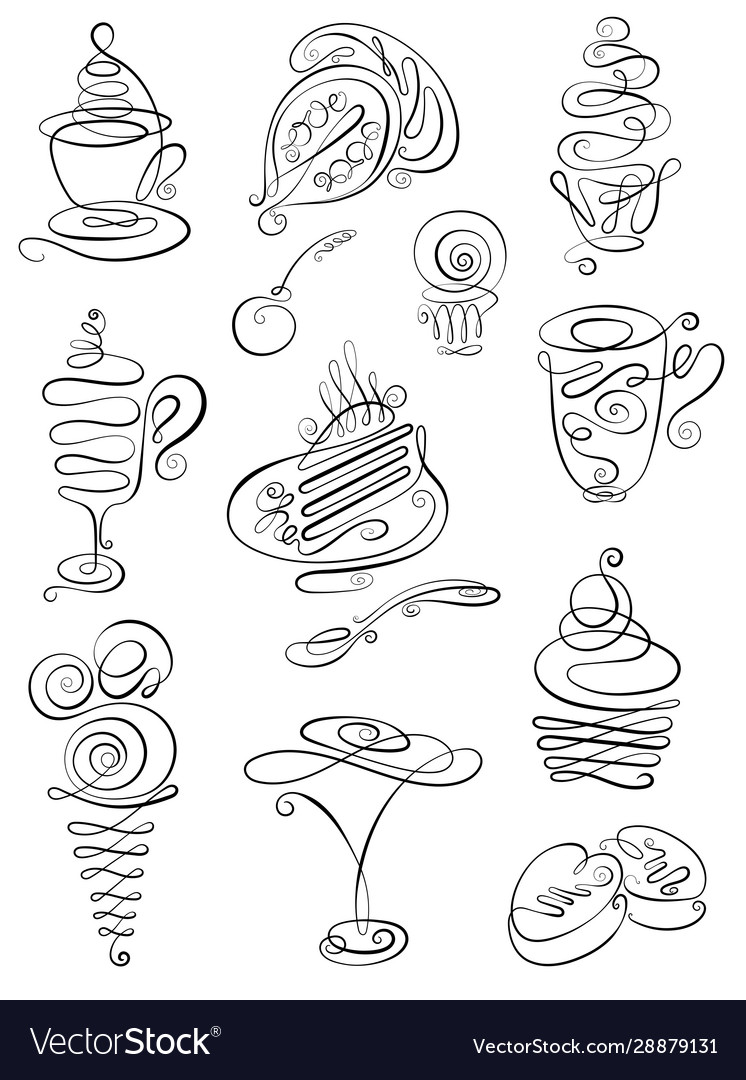 Sweet hand drawn doodles with coffee tea latte