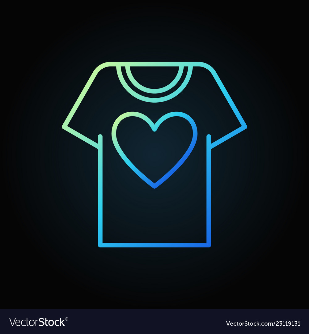 T-shirt with heart blue outline icon