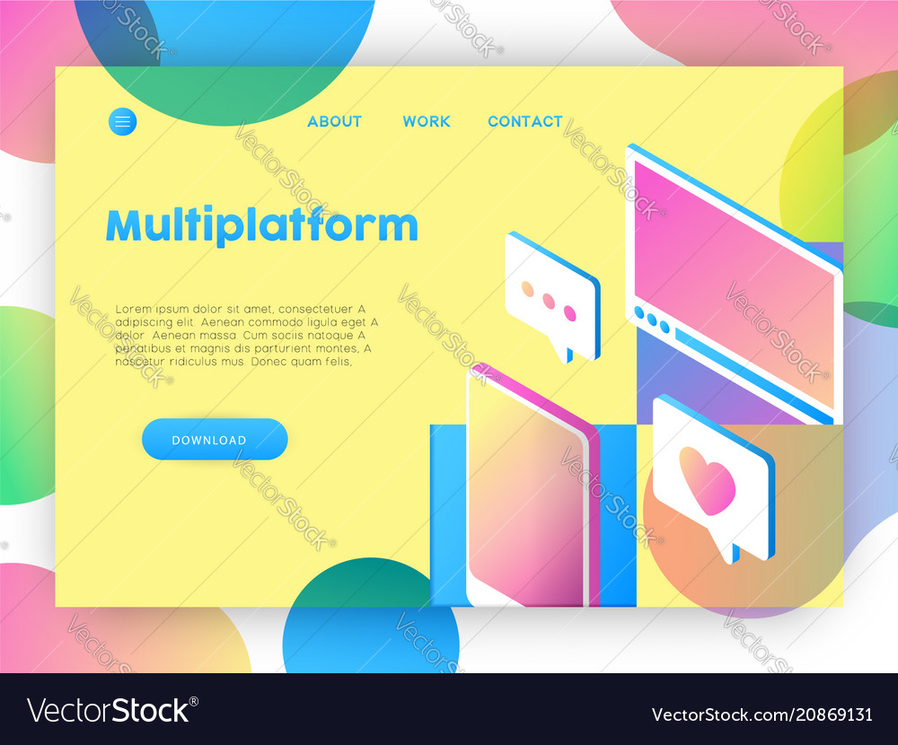Technology business online app landing page