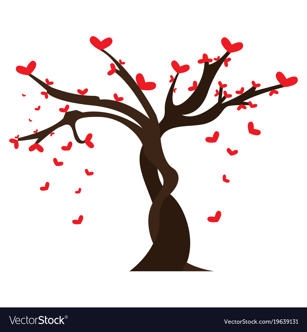 Tree With Heart Shaped Leaves Royalty Free Vector Image