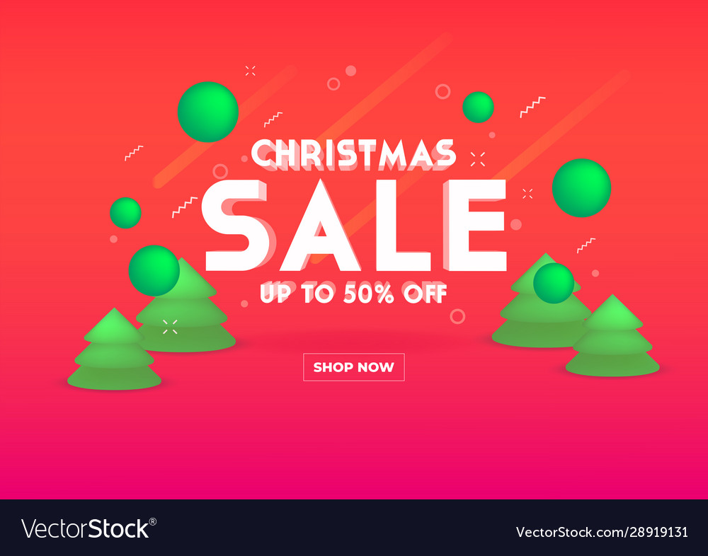 Web banner for christmas sale 3d depth