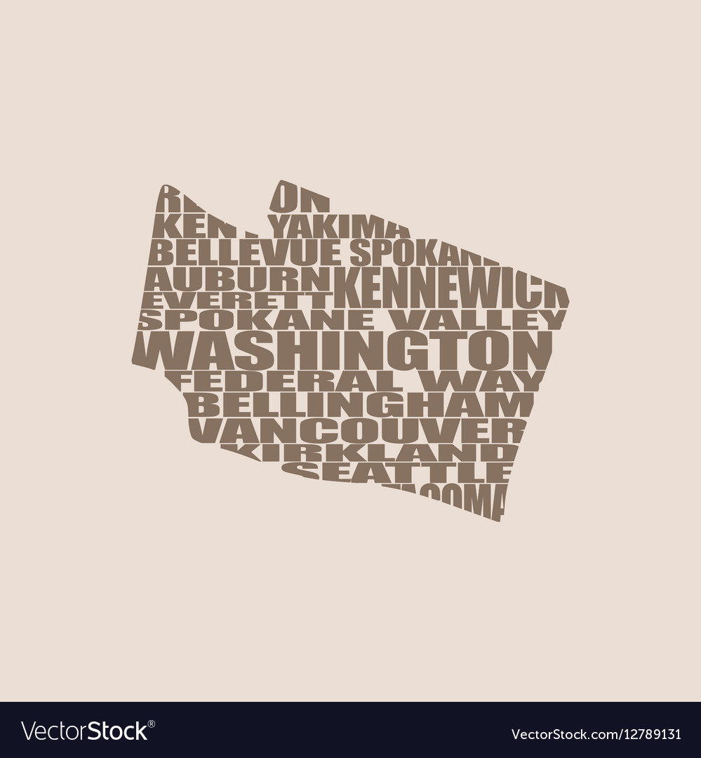 Word cloud map of Washington state vector image