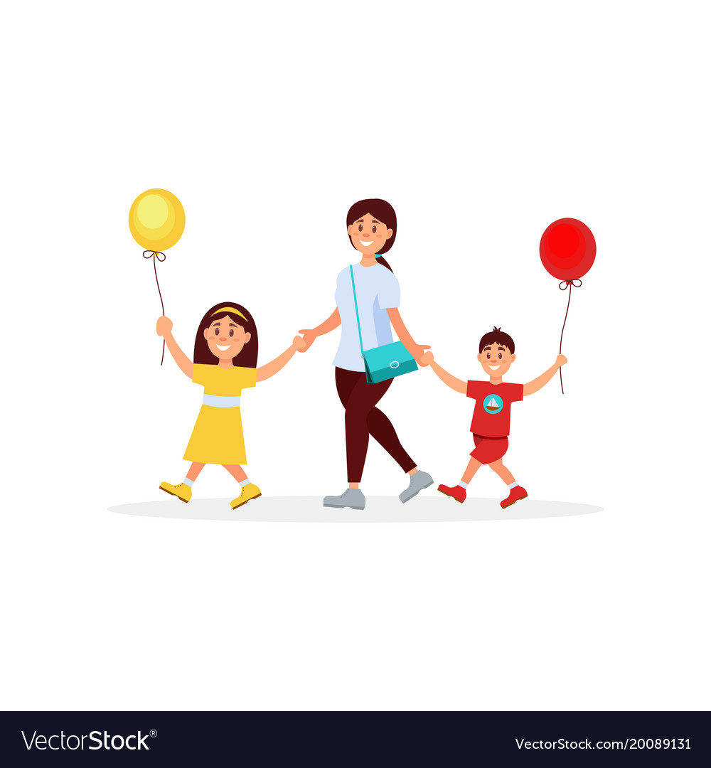 Young Mother Walking With Her Little Children Mom Vector Image
