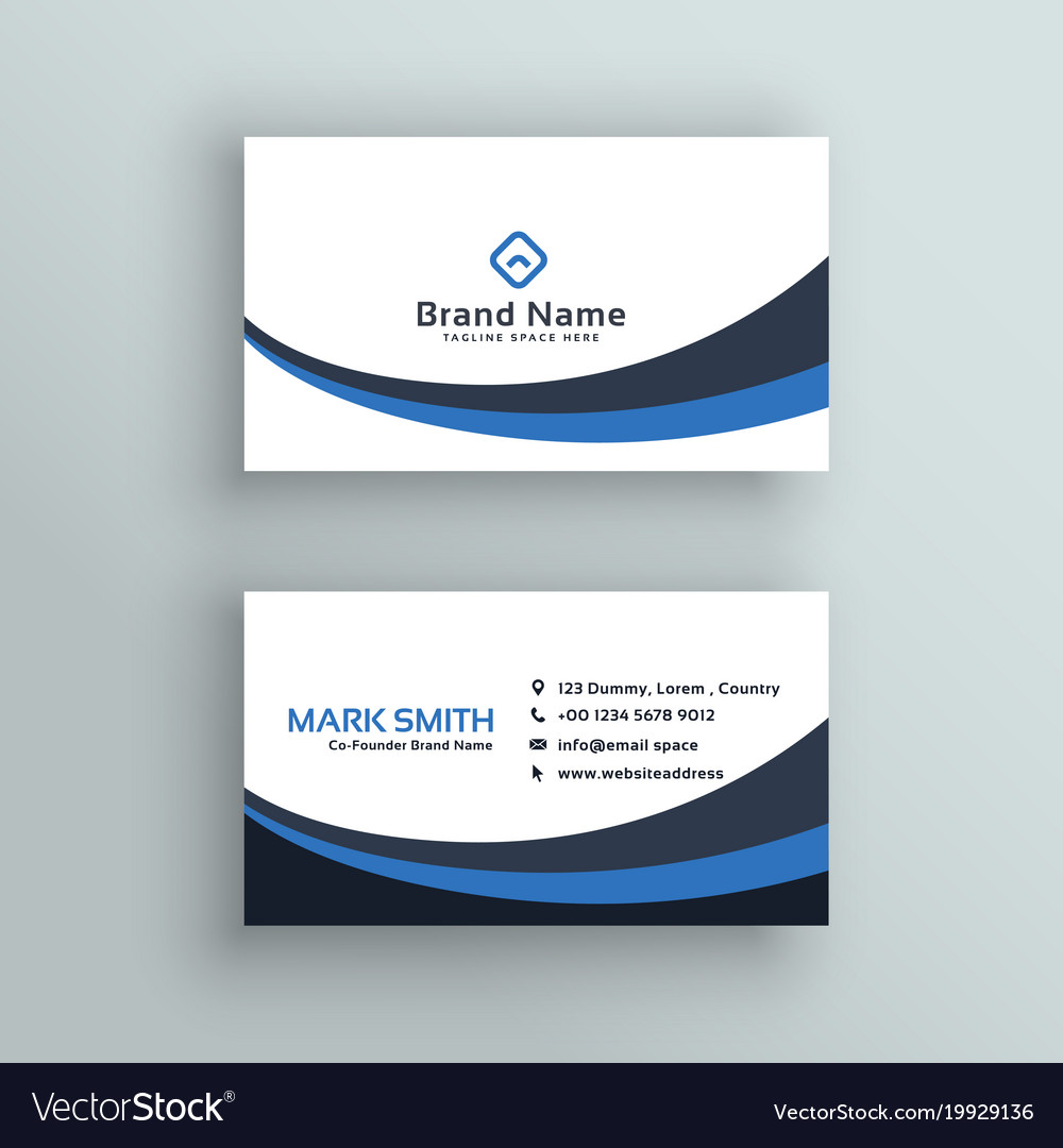 Abstract blue wave business card design Royalty Free Vector