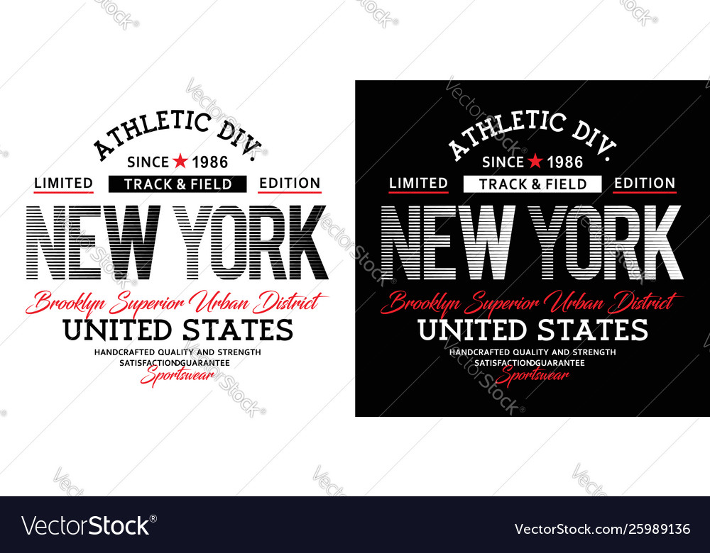 Athletic sport new york typography design