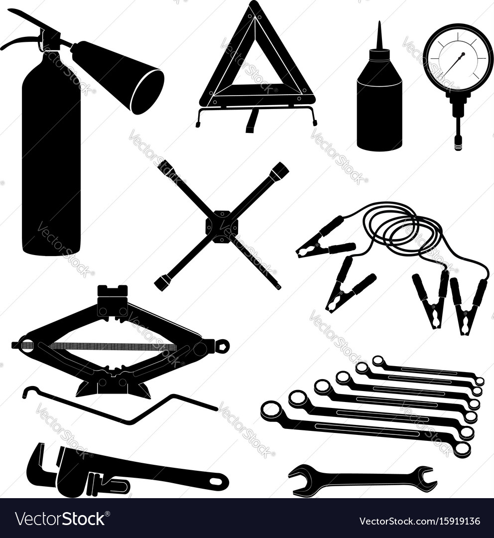 Auto service icons repair car on the road garage vector image