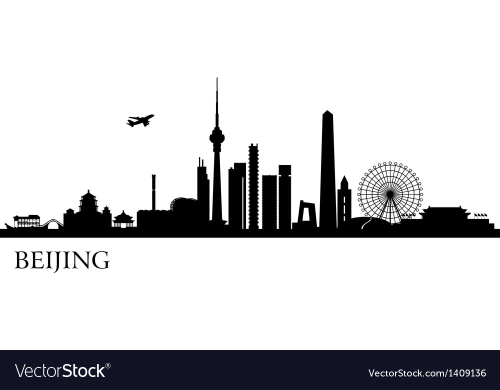 beijing city silhouette royalty free vector image rh vectorstock com city silhouette vector free download city silhouette vector png