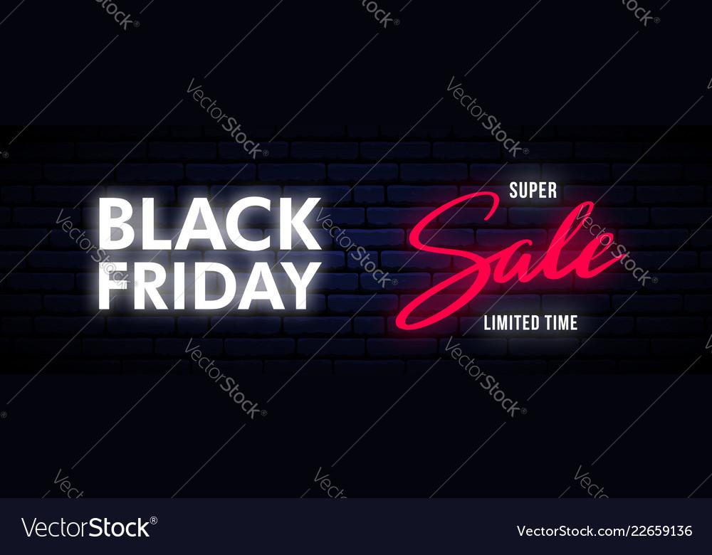 Black friday neon long horizontal banner bright