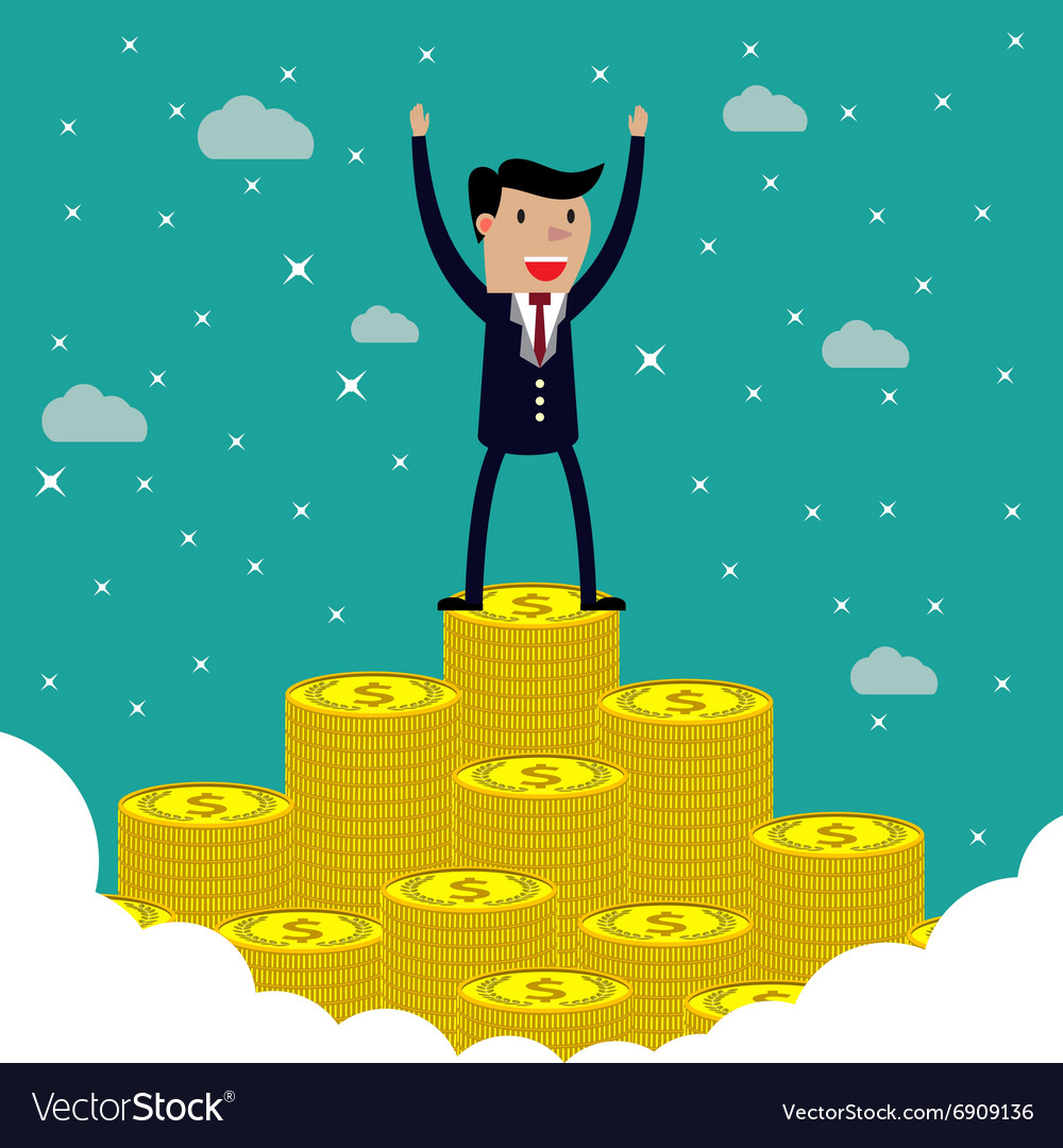 Businessman standing on the huge money staircase