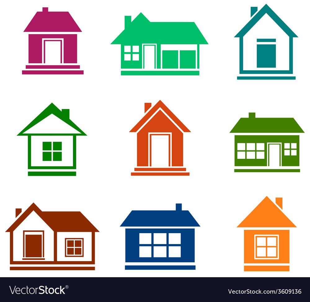 Colorful cottage set