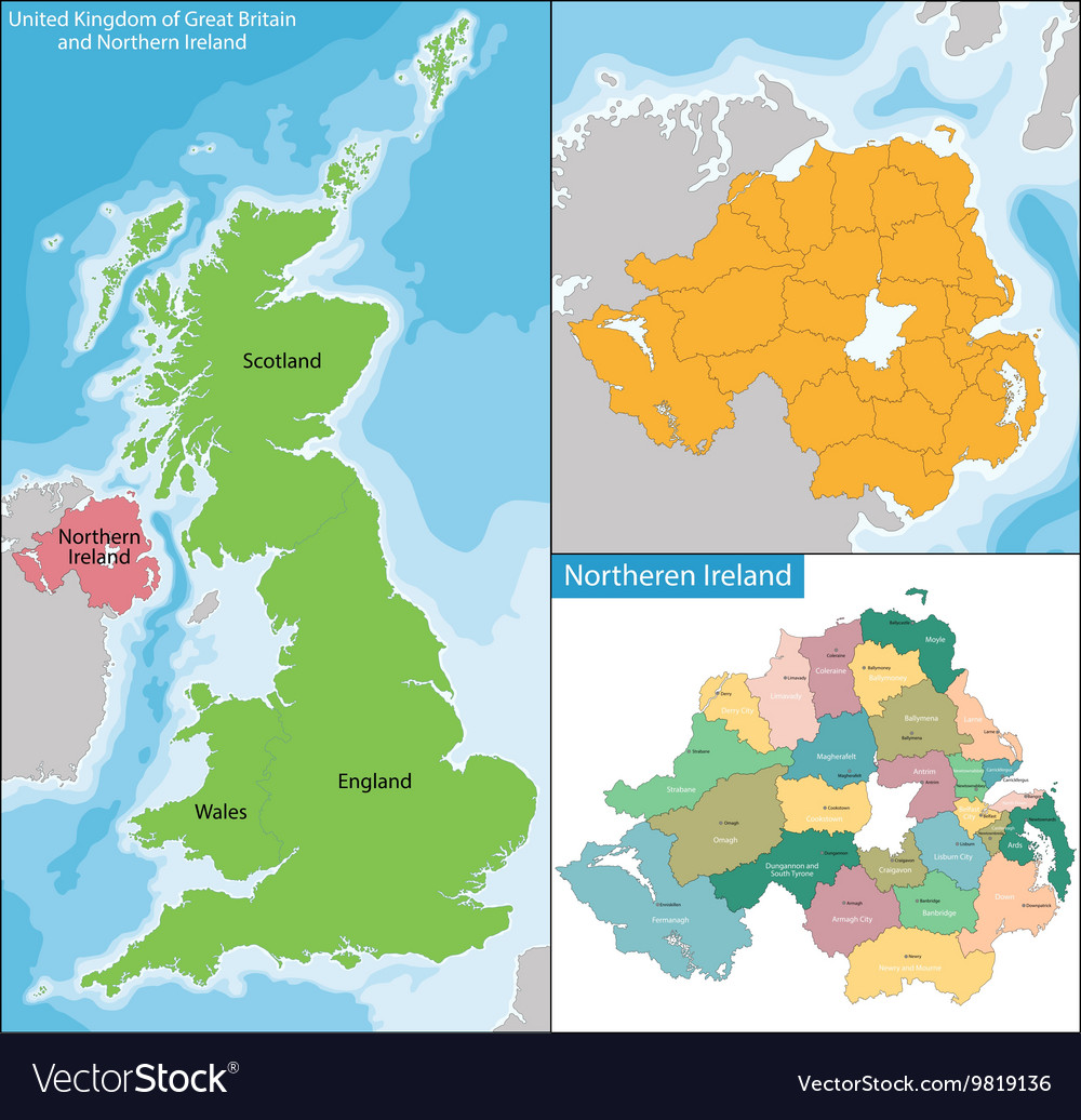 Ireland And Northern Ireland Map.Northern Ireland Map Royalty Free Vector Image