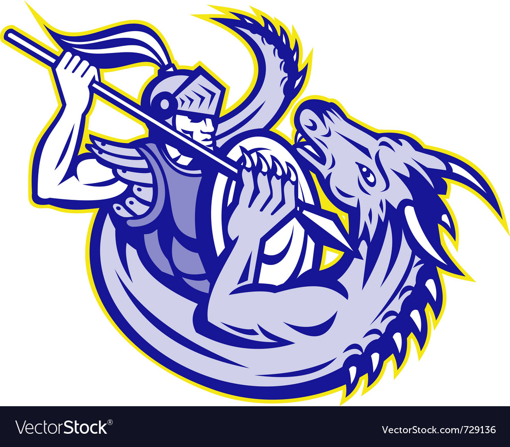St george knight fighting a dragon vector image