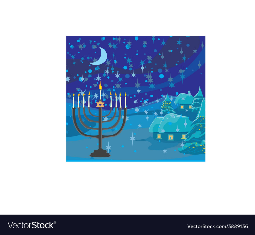 Winter Christmas Scene Hanukkah Menorah Abstract