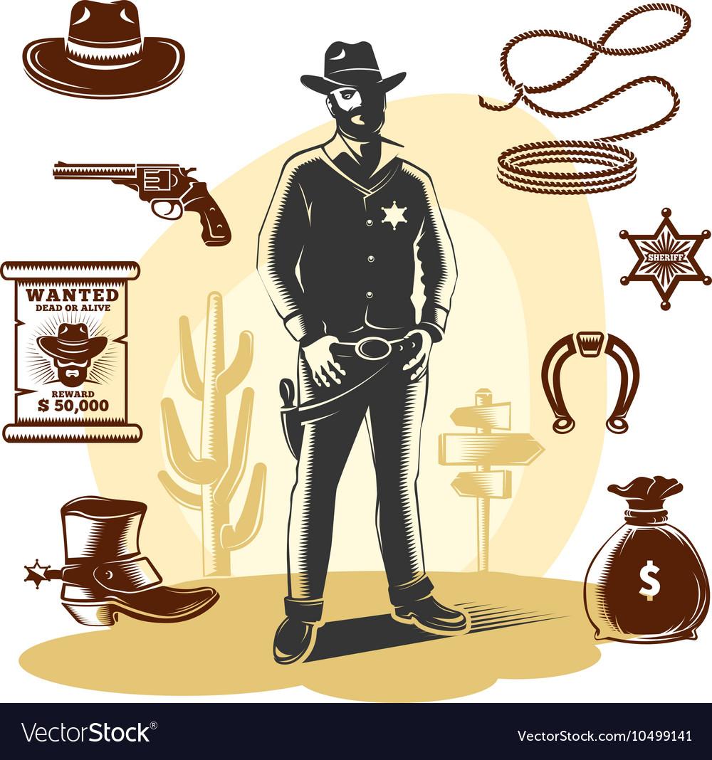 Brown Sheriff Icon Set