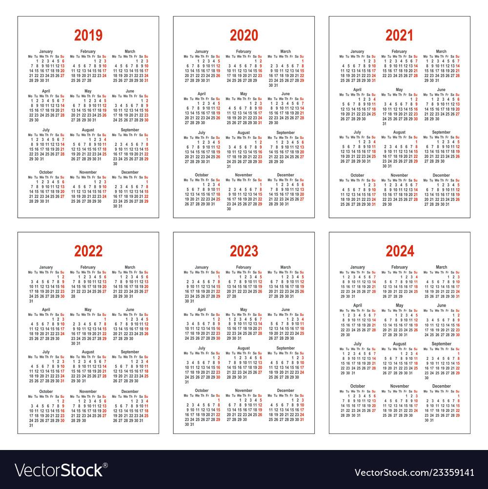 Ucsd 2022 2023 Calendar.Calendar For 2019 2020 2021 2022 2023 2024 Vector Image