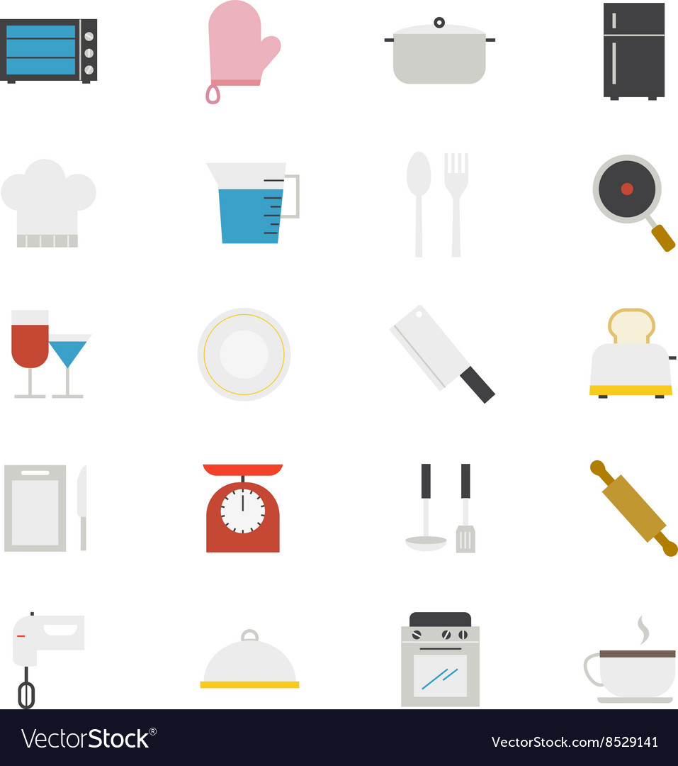 Cooking and Kitchen Utensil Flat Icons color