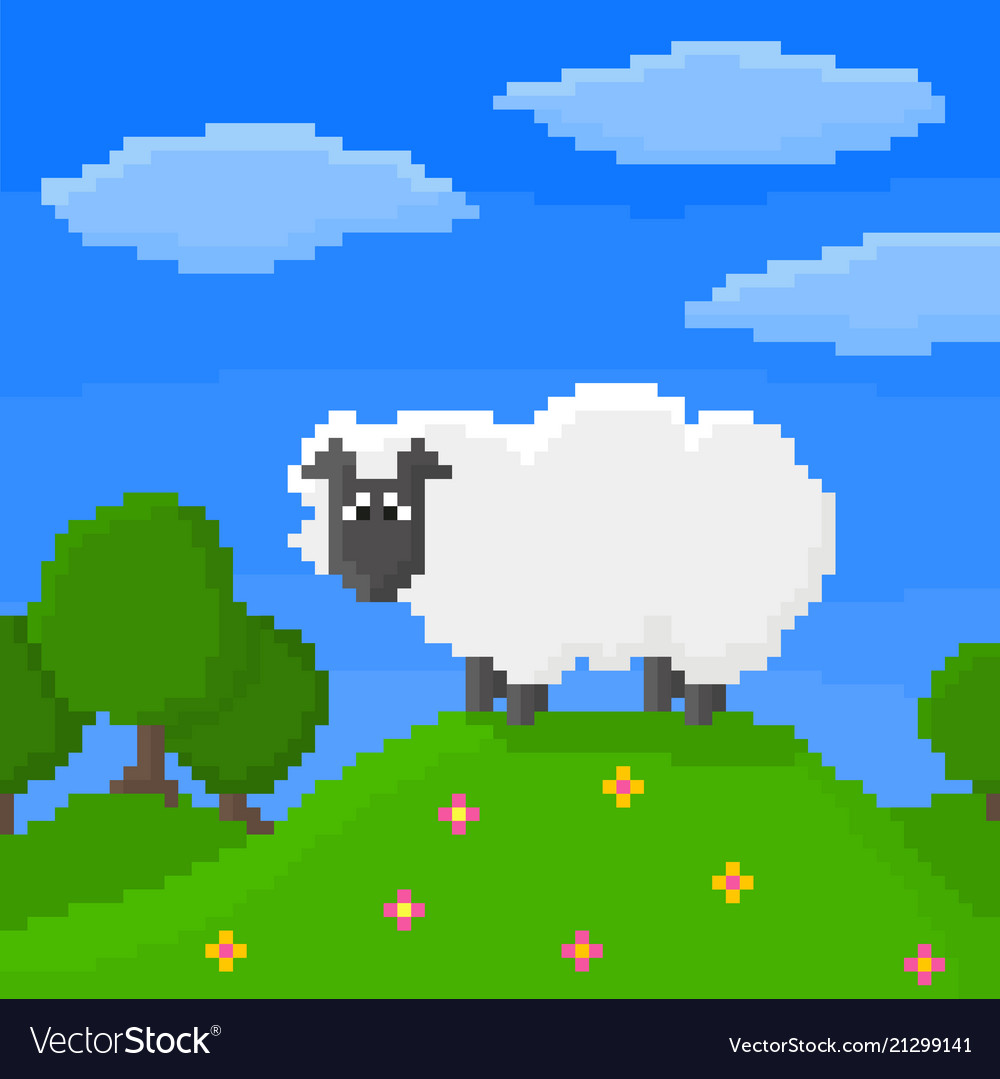 Cute pixel sheep is standing on a hill
