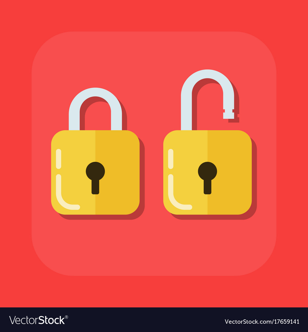 Flat image of an open and closed padlock
