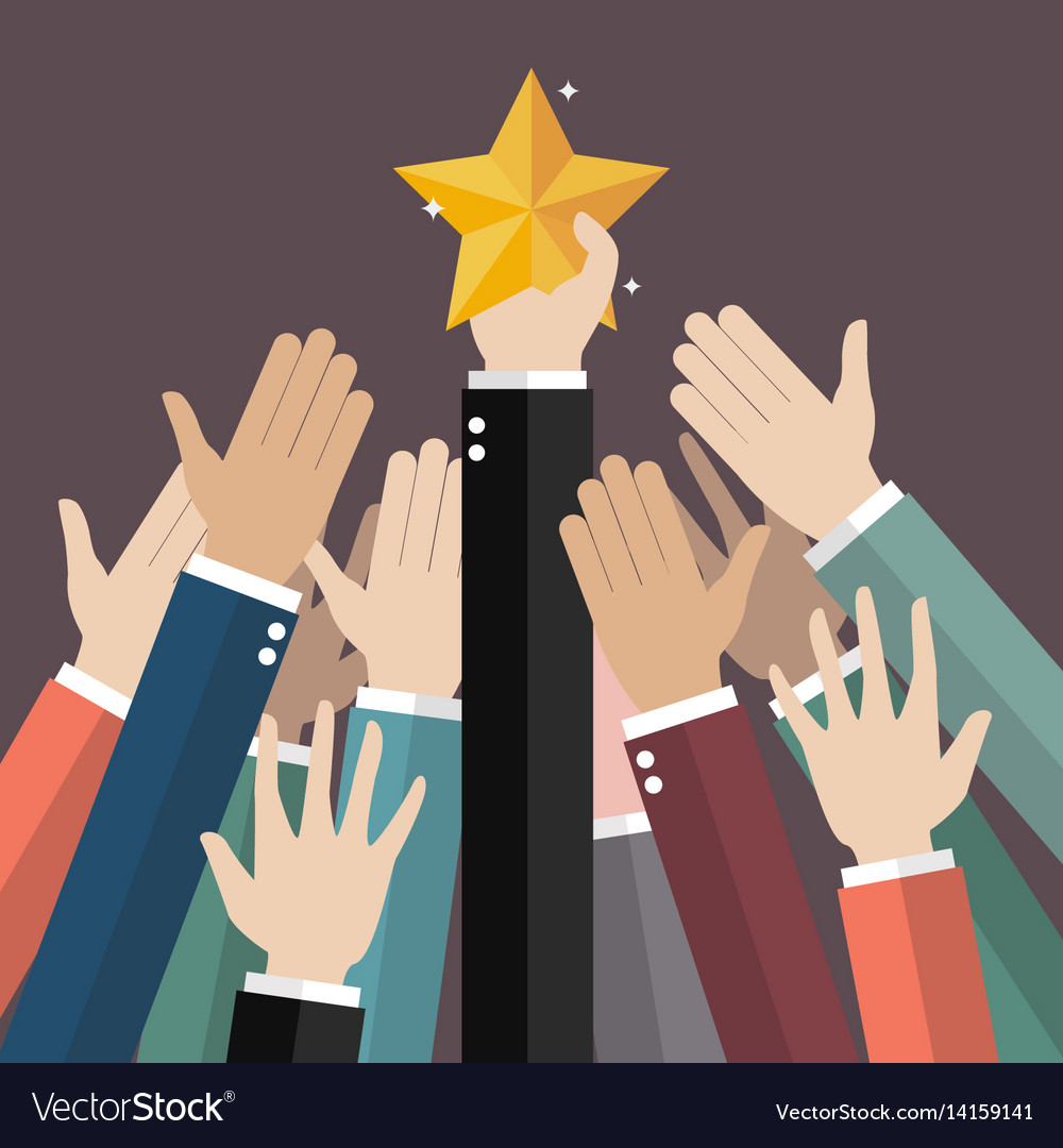 Group of hand reaching for the star vector image