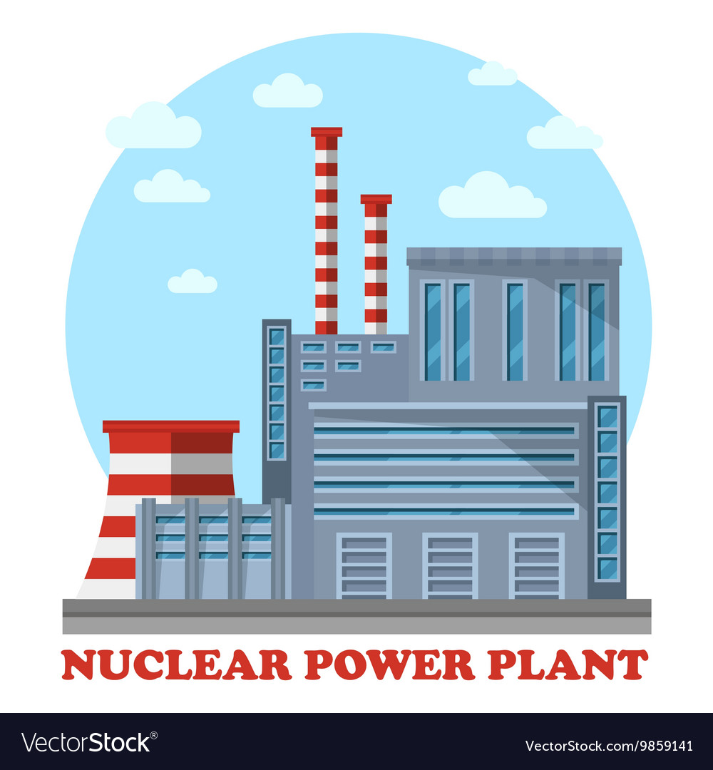 Nuclear power plant with cooling tower and chimney