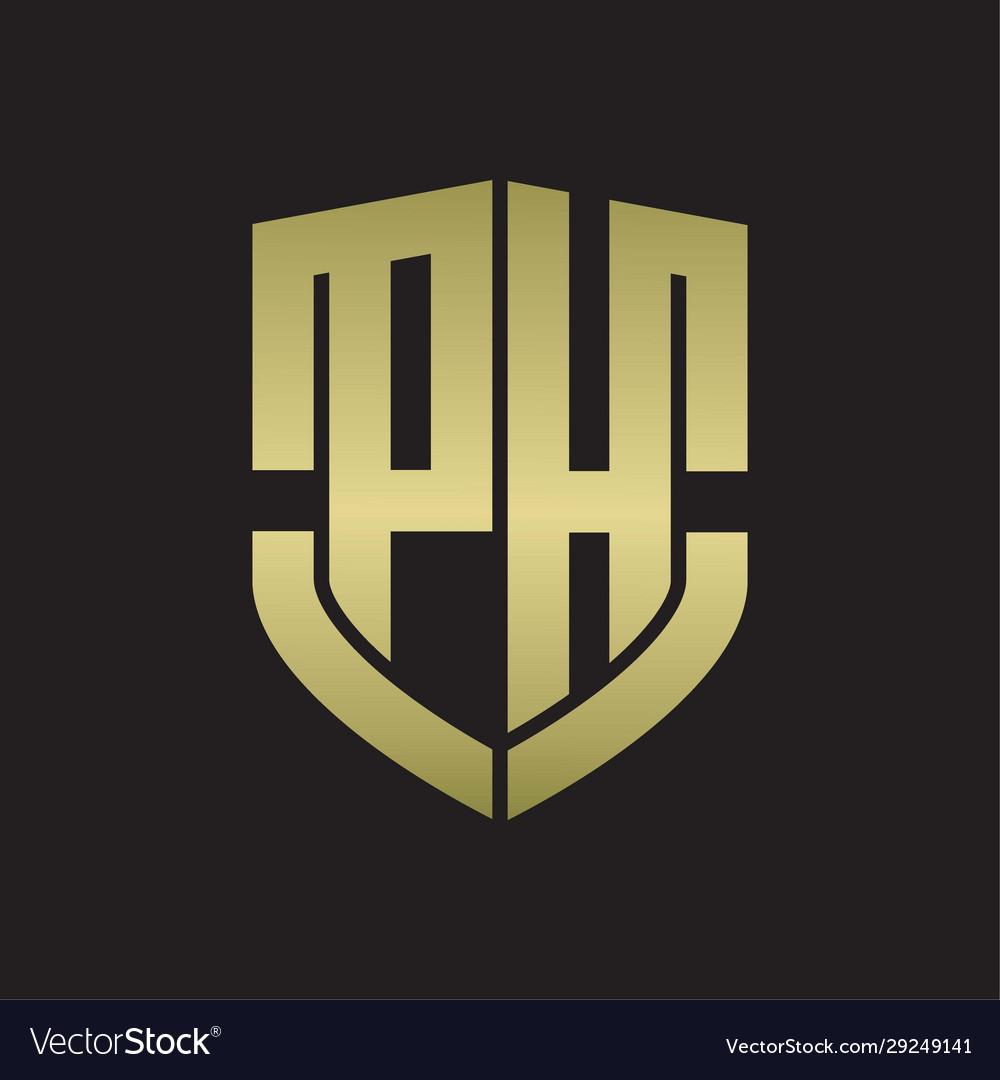 Ph Logo Monogram With Emblem Shield Shape Design Vector Image