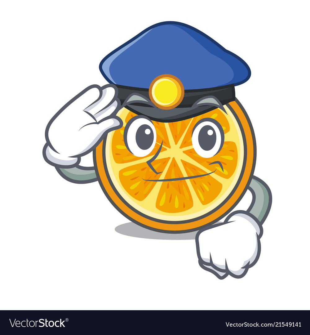Police orange character cartoon style