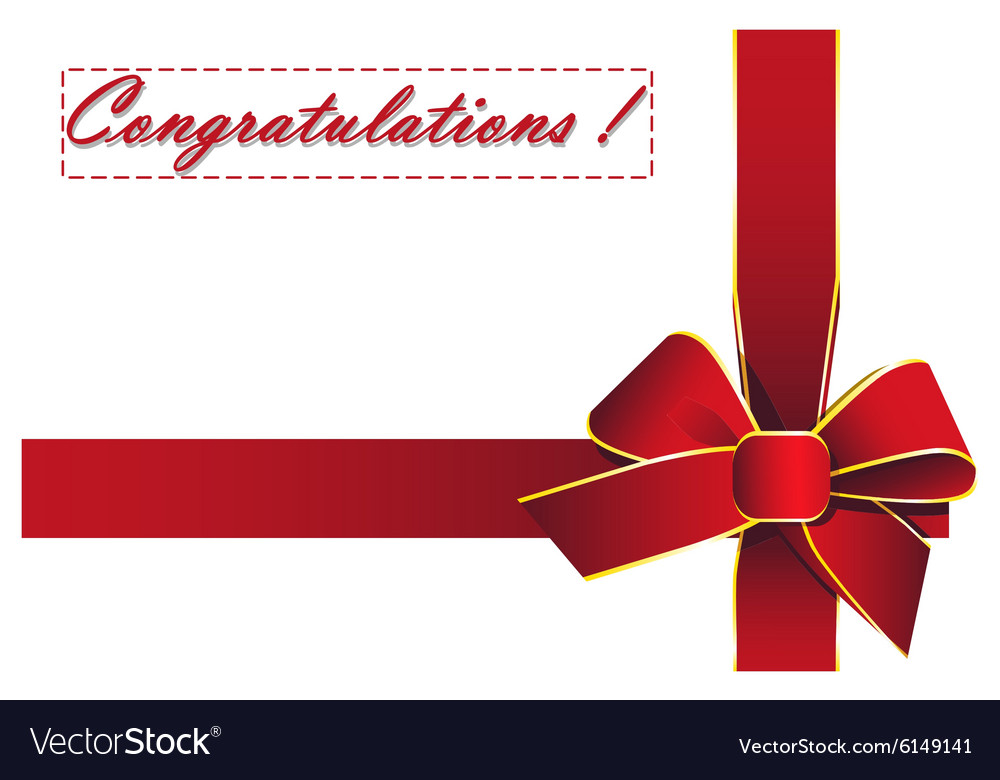 red ribbon with the words congratulations vector image