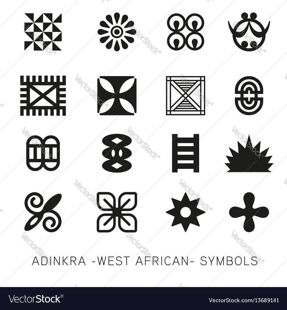 Set Of Akan And Adinkra West African Symbols Vec