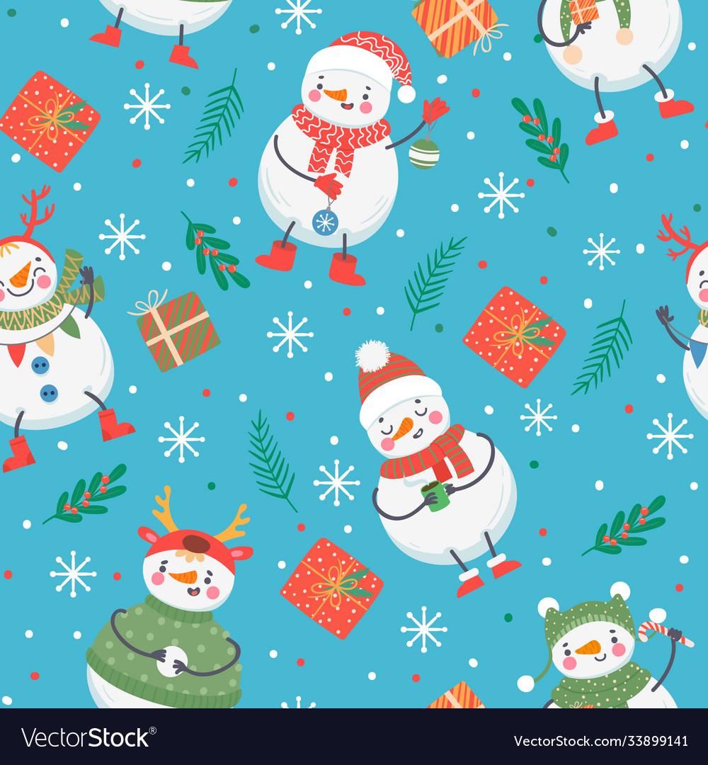 Snowman seamless pattern cute funny snowmen in
