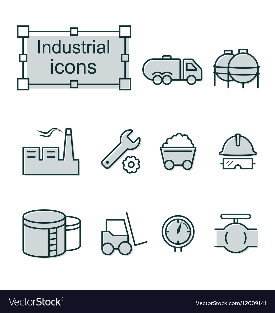 Thin line icons set Industrial