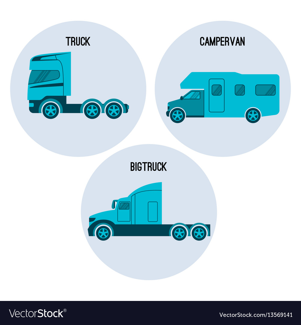 Truck or lorry motor vehicle campervan camper vector image