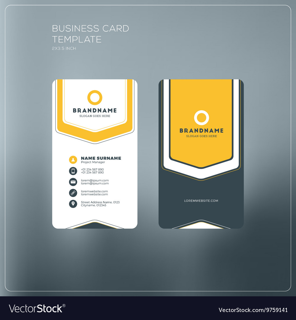 Vertical business card print template personal vector image accmission