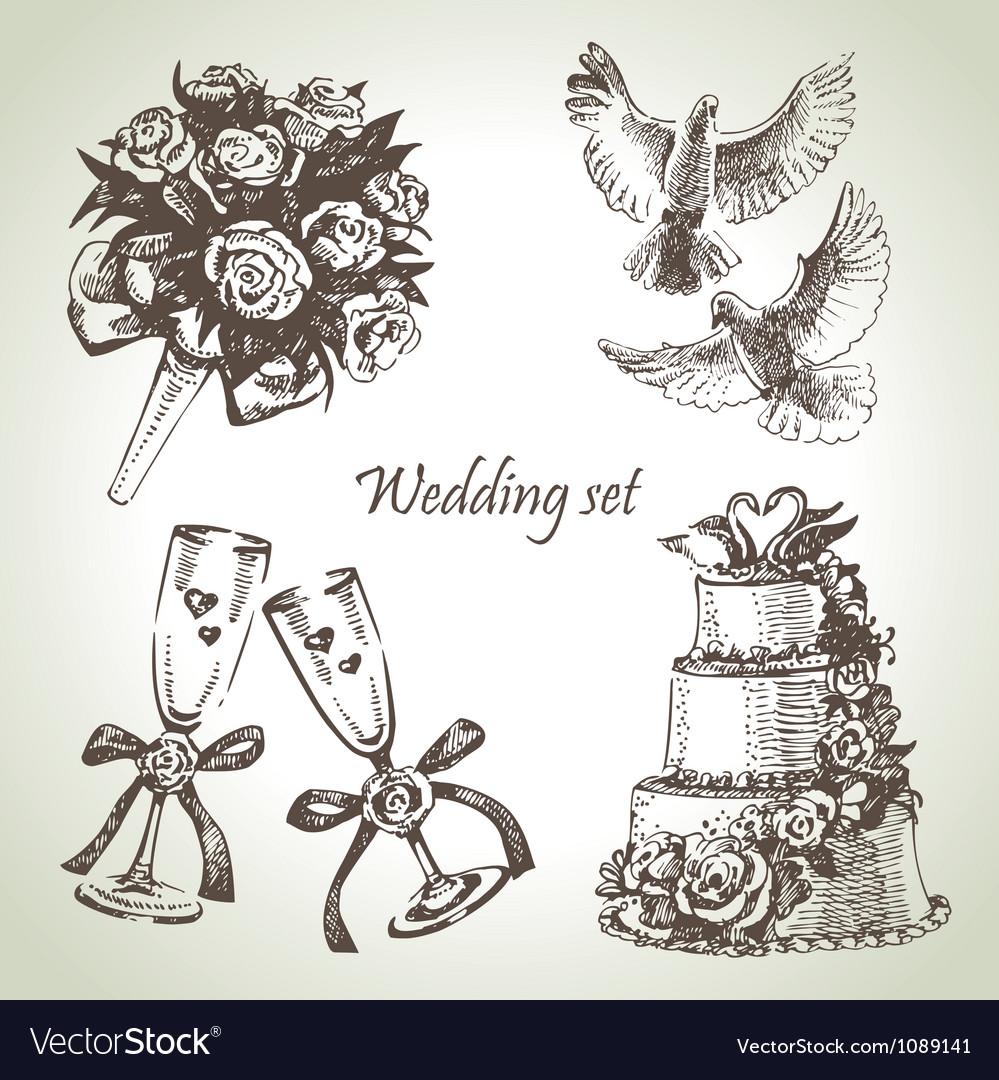 Wedding set hand drawn