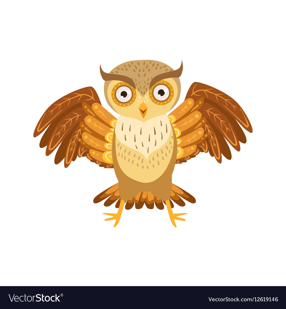Angry Owl Cute Cartoon Character Emoji With Forest