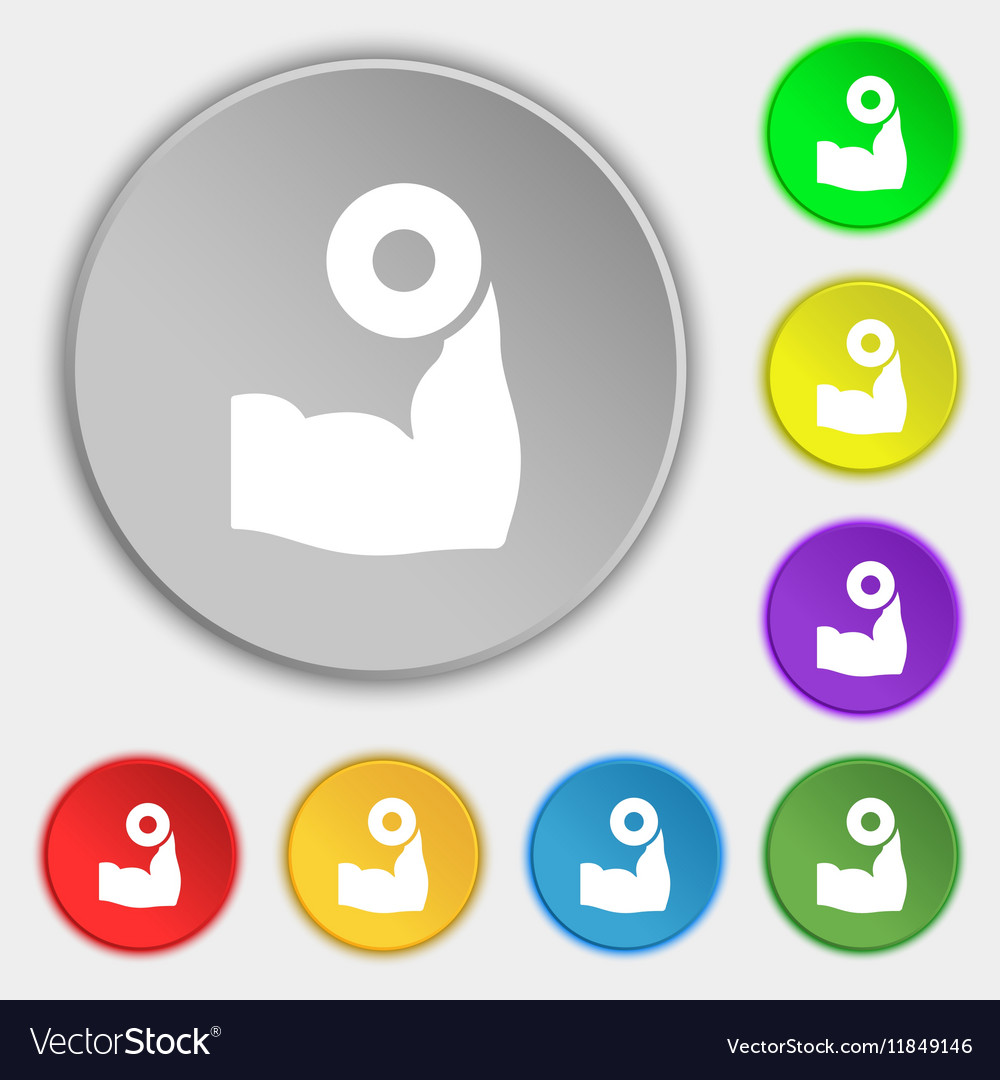 Arm muscle with dumbbell in hand icon sign Symbol