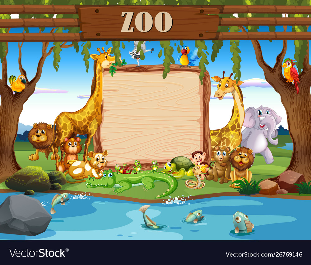 Border template with cute animals at zoo