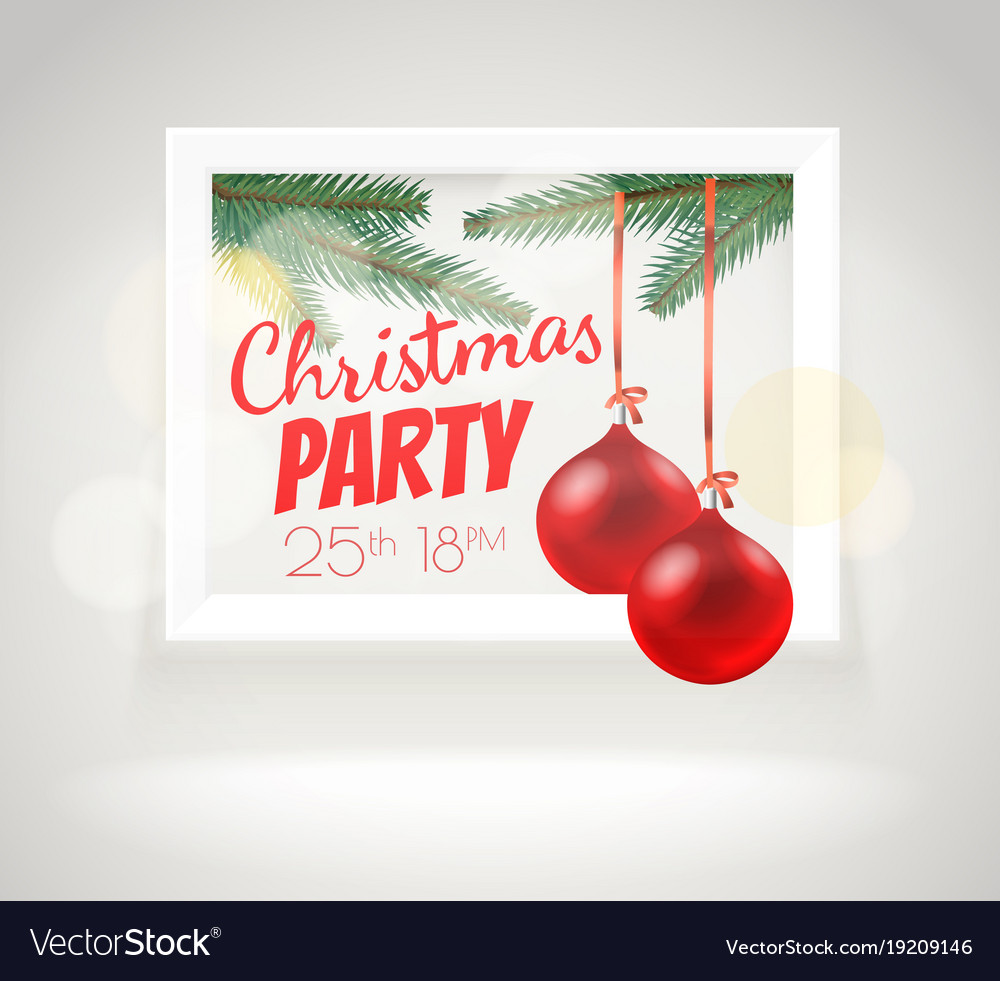 christmas greeting card layout party announcement vector image - Christmas Card Layout