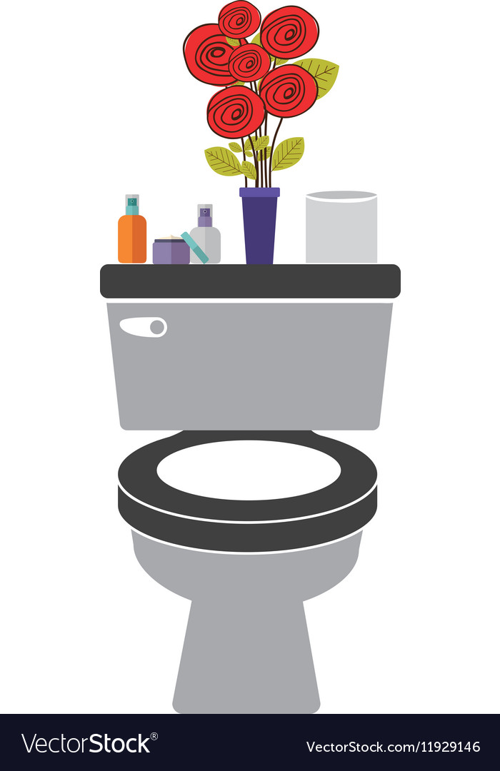 Colorful toilet with decorative vase vector image