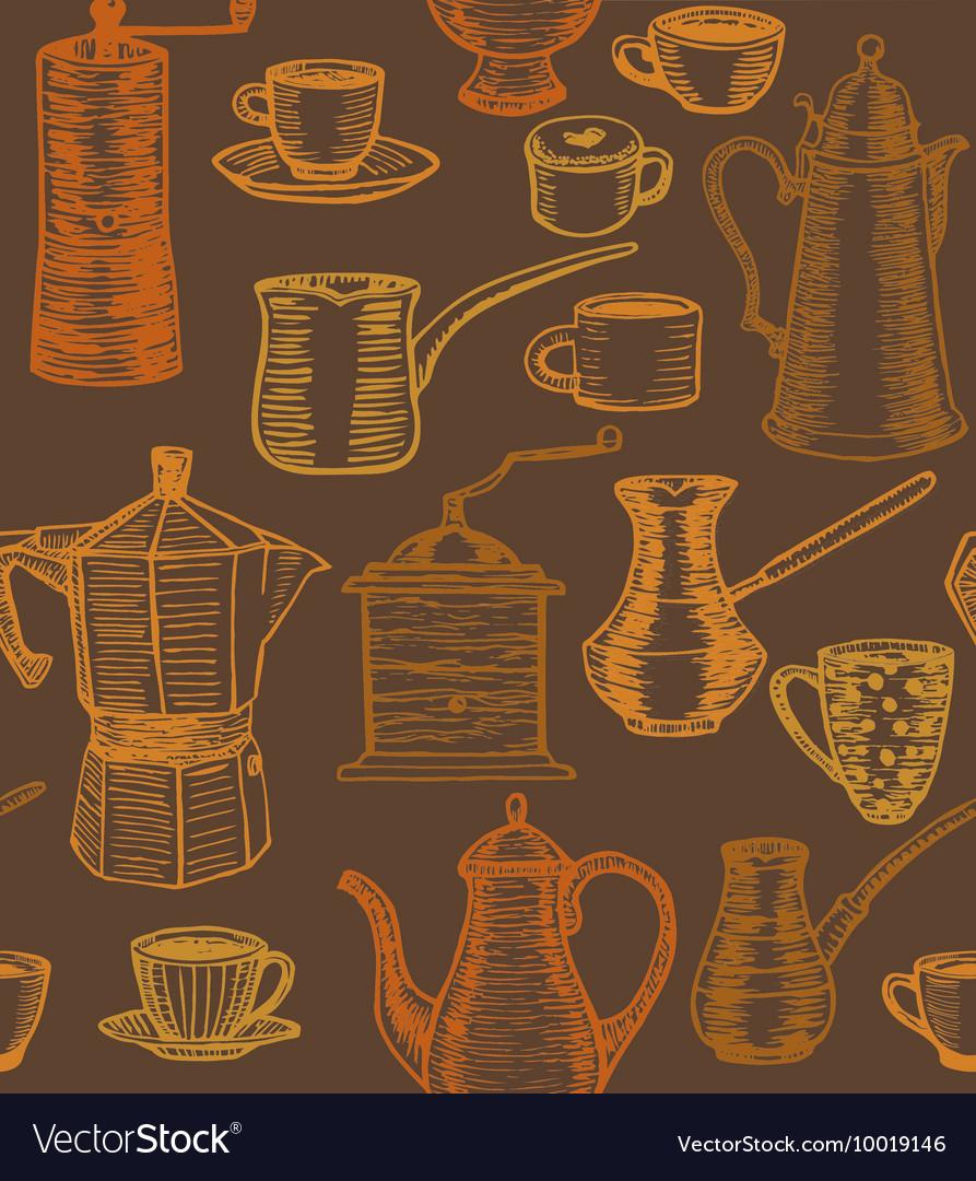 Dark coffee background with utensils vector image