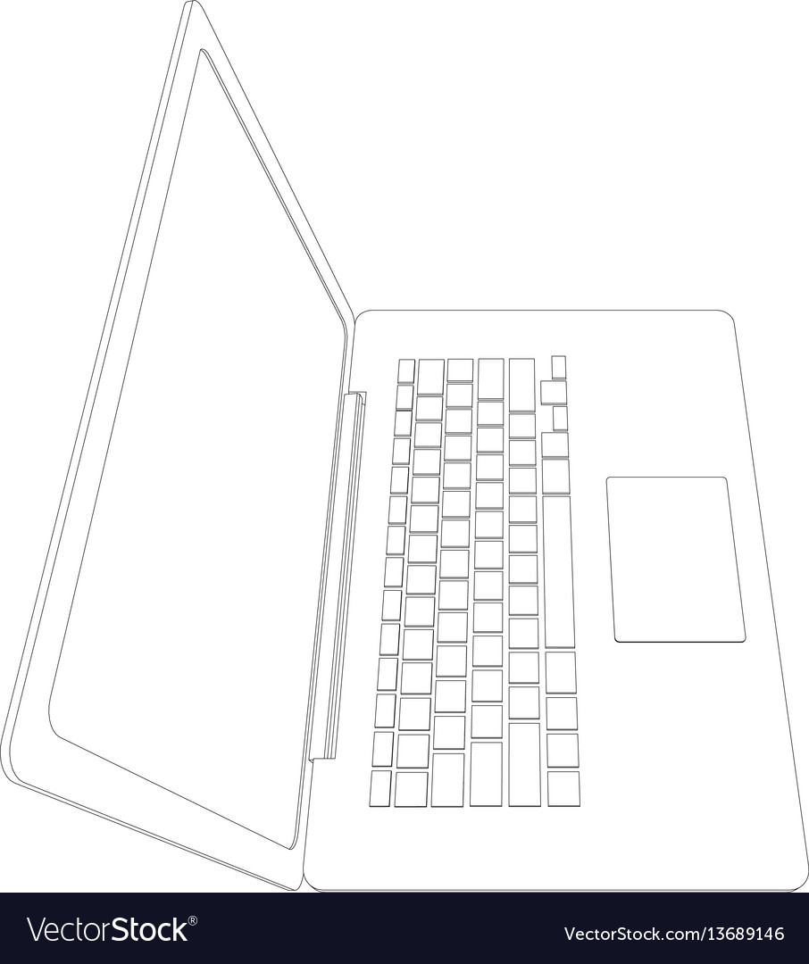Drawing of wire-frame open laptop